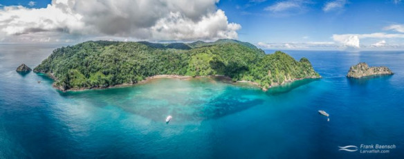 Cocos Island landscape, Chatham Bay, aerial view. Costa Rica.