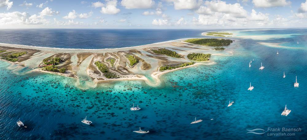Fakarava Atoll, French Polynesia Aerial.