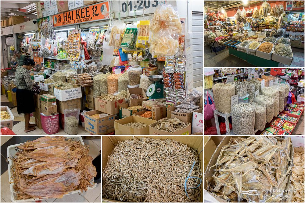 Tekka Market dried seafood. T: Dried seafood. BL: Dried squid. BM: Dried anchovies. BR: Dried fish.